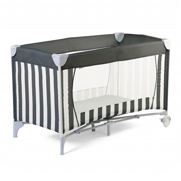Grote foto childhome reisbedje gestreept 120x60 cm canvas grijs en wit kinderen en baby complete kinderkamers