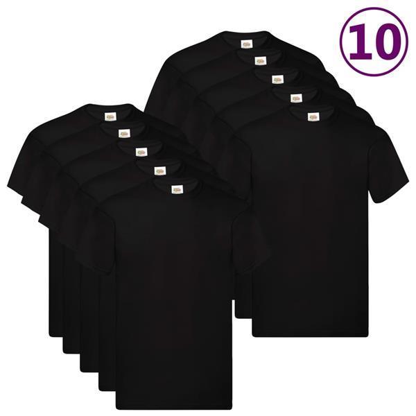 Grote foto fruit of the loom t shirts original 10 st m katoen zwart kleding heren overhemden