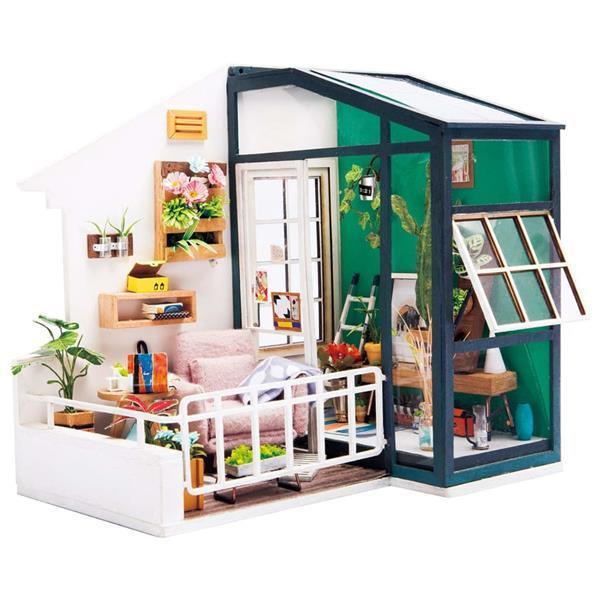 Grote foto robotime miniatuur knutselset balcony daydreaming met led ve verzamelen overige verzamelingen