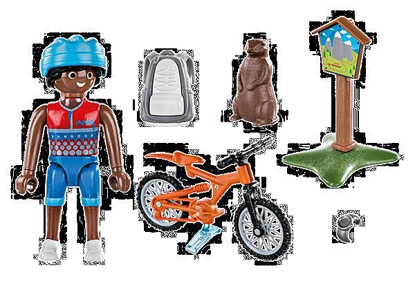 Grote foto playmobil special plus 70303 mountainbiker kinderen en baby duplo en lego