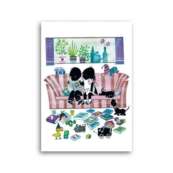 Grote foto jip en janneke lezen op de bank ansichtkaart verzamelen overige verzamelingen
