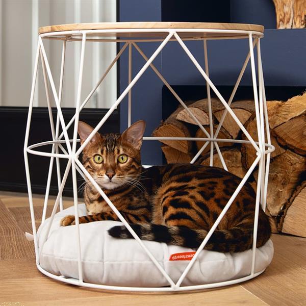 Grote foto beeztees kattenmeubel kuja 40x40x40 cm metaal wit dieren en toebehoren katten accessoires
