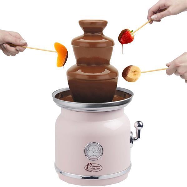 Grote foto bestron fontaine chocolat acf700p rose witgoed en apparatuur kookplaten en gasstellen