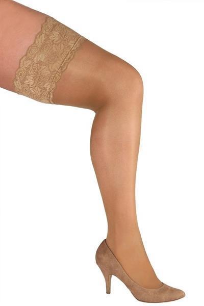 Grote foto beige stockings grote maat maat 3 kleding dames ondergoed