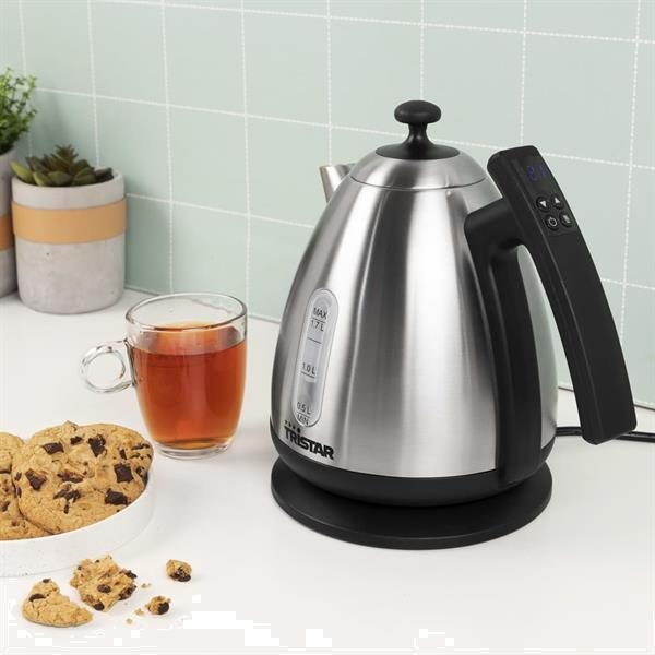 Grote foto tristar waterkoker digitaal wk 3403 2200 w zilverkleurig en witgoed en apparatuur keukenmachines