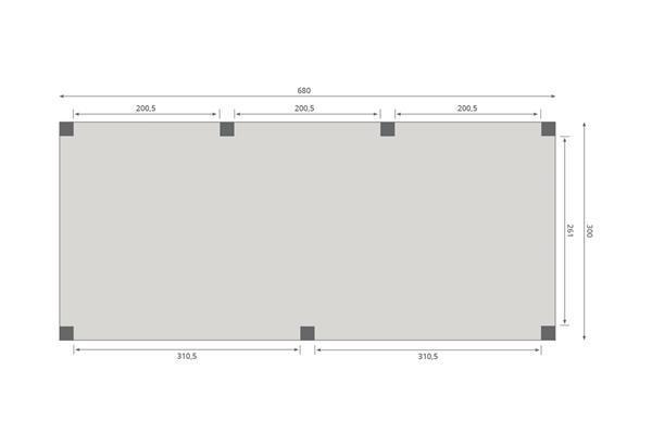 Grote foto overkapping slim serie 2 douglas 680 x 300 cm tuin en terras tuinhuisjes en blokhutten
