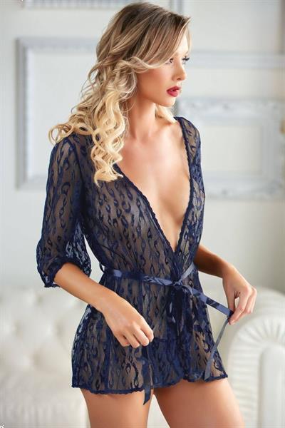 Grote foto kanten kimono donkerblauw maat one size xl kleding dames ondergoed