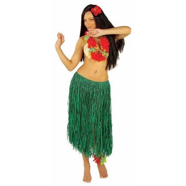 Grote foto hawaii rok groen stro 78cm kleding dames carnavalskleding en feestkleding