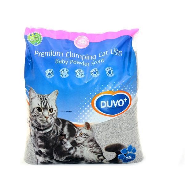 Grote foto duvo kattenbakvulling premium met babypoedergeur 15kg dieren en toebehoren katten accessoires