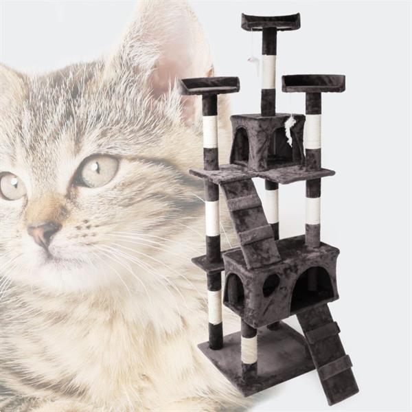 Grote foto krabpaal krabboom kattenboom grijs 170cm dieren en toebehoren katten accessoires