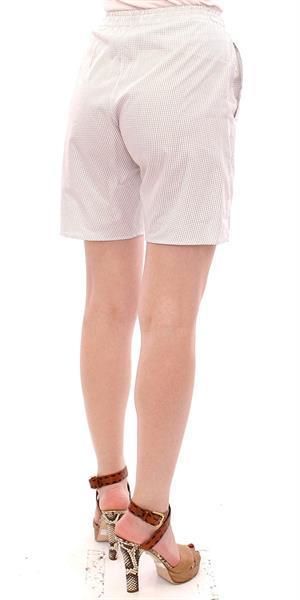 Grote foto andrea incontri white checkered stretch cotton shorts it42 m kleding dames broeken en pantalons