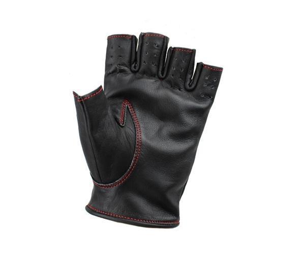 Grote foto swift racing vingerloze leren handschoenen zwart rood motoren kleding
