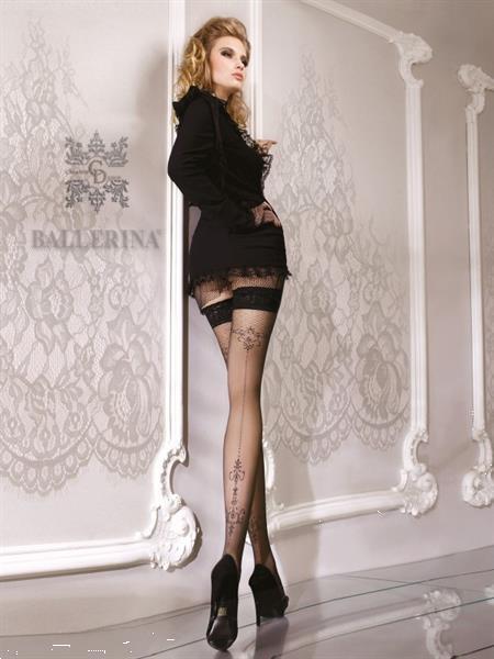 Grote foto zwarte hold ups met motief aan achterkant maat s m kleding dames ondergoed