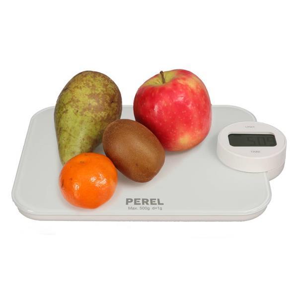 Grote foto perel keukenweegschaal digitaal 5 kg wit doe het zelf en verbouw gereedschappen en machines