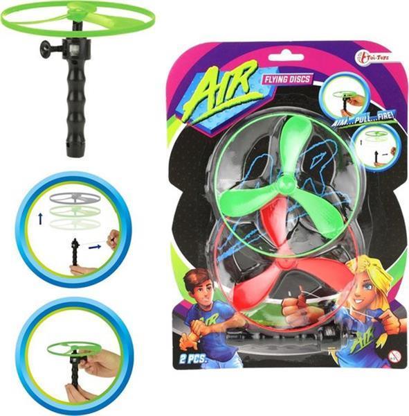 Grote foto toi toys flying discs air 12 cm groen rood 3 delig kinderen en baby los speelgoed