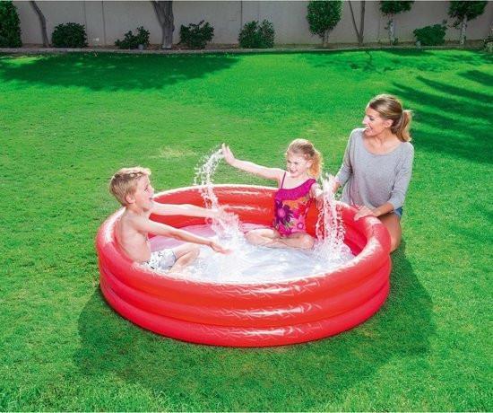 Grote foto bestway 3 rings opblaasbaar zwembad 152x30 cm assorti kinderen en baby los speelgoed