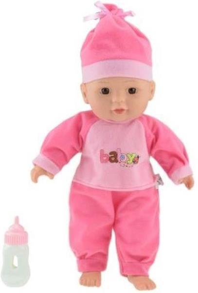 Grote foto liggende babypop donkerroze 30cm kinderen en baby speelgoed voor jongens