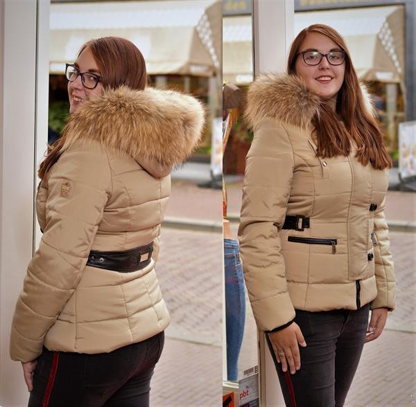 Grote foto beige jas met capuchon kleding dames jassen winter