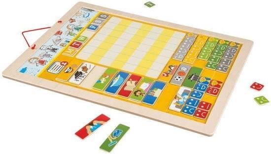 Grote foto luxe houten weekplanner kalenderklok 39x29 cm vanaf 3 jaar kinderen en baby overige