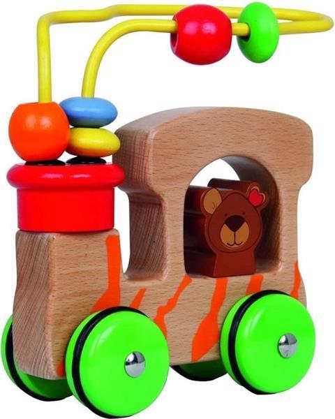 Grote foto houten safari auto beer met motoriek spiraal en houten kra kinderen en baby babyspeelgoed