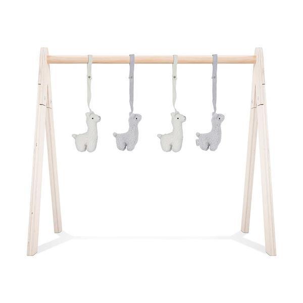 Grote foto babygym hout speeltjes lama kinderen en baby babyspeelgoed