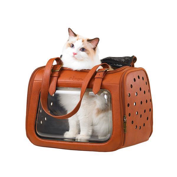 Grote foto ibiyaya portico deluxe leather pet transporter draagtas dieren en toebehoren katten accessoires