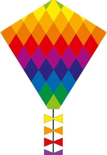 Grote foto eenlijnskindervlieger eddy rainbow patchwork 45 x 50 cm kinderen en baby los speelgoed