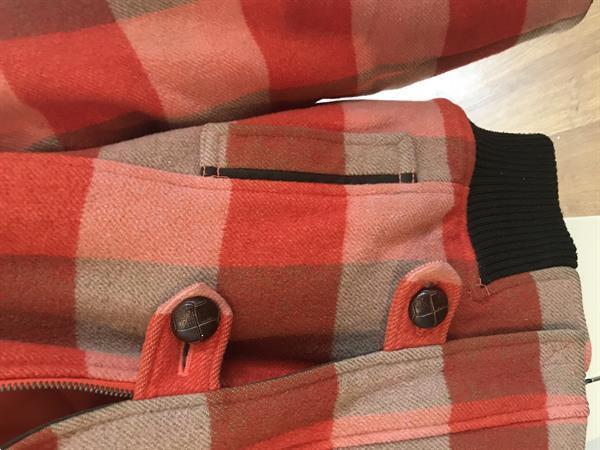 Grote foto stoer geblokte korte jas teddy kraag kleding dames jassen winter