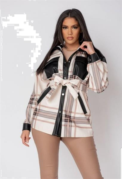 Grote foto cream faux leather belted jacket l kleding dames jassen zomer