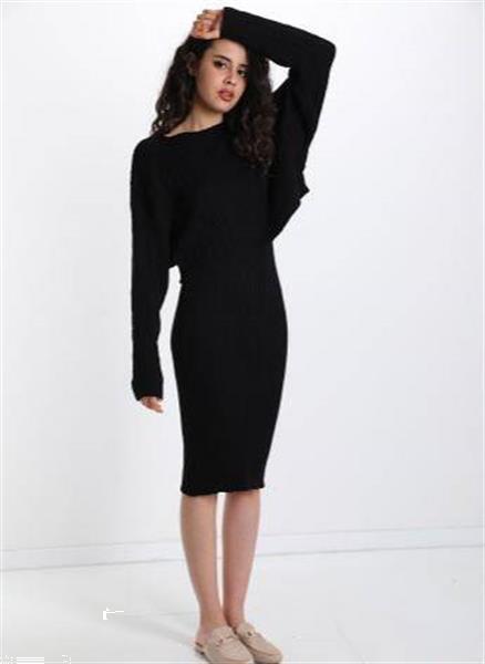 Grote foto black rib dress with pullover one size kleding dames jurken en rokken