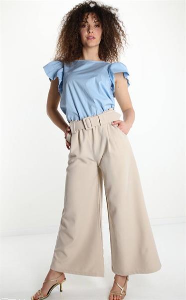Grote foto beige business wide leg belt trouser one size kleding dames broeken en pantalons