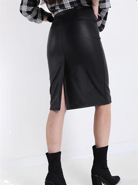 Grote foto black faux leather midi skirt with belt m kleding dames jurken en rokken