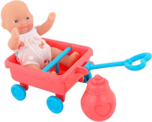 Grote foto babypop met bolderkar anmiya 12 cm kinderen en baby poppen