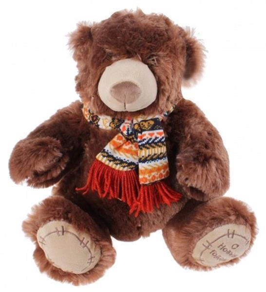 Grote foto knuffelbeer met sjaal 30 cm bruin kinderen en baby knuffels en pluche