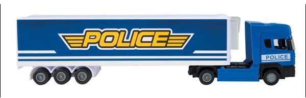 Grote foto vrachtwagen politie junior 37x7 5 cm polypropyleen blauw kinderen en baby los speelgoed