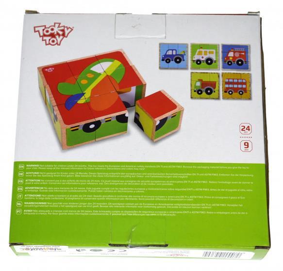 Grote foto blokkenpuzzel voertuigen 13 5 x 4 5 cm hout 9 delig kinderen en baby overige