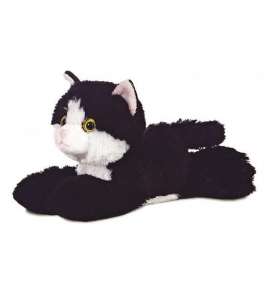 Grote foto knuffel mini flopsie maynard zwart wit kat 20 5 cm kinderen en baby knuffels en pluche