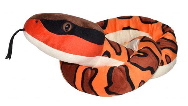 Grote foto knuffel watermoccasin slang 137 cm bruin oranje kinderen en baby knuffels en pluche