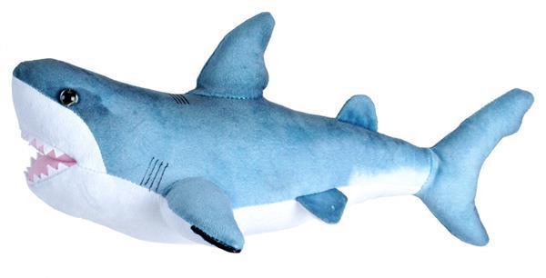 Grote foto knuffel witte haai junior 30 cm pluche blauw wit kinderen en baby knuffels en pluche