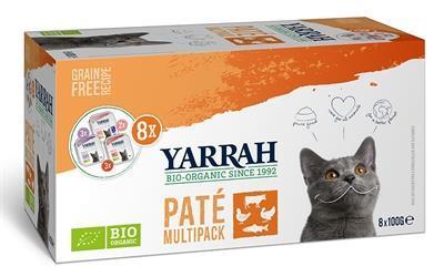 Grote foto yarrah organic kat multipack pate zalm kalkoen rund 8x10 dieren en toebehoren katten accessoires