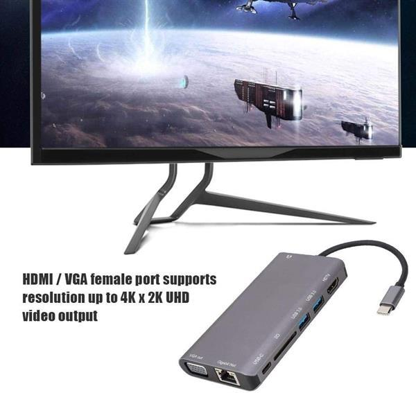 Grote foto drphone hb8 usb c hub 8 in 1 usb3.0x2 hdmi 4k vga 108 computers en software netwerkkaarten routers en switches