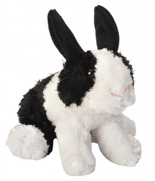 Grote foto knuffel konijn junior 18 cm pluche zwart wit kinderen en baby knuffels en pluche