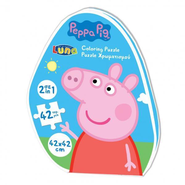 Grote foto puzzel 2 in 1 peppa pig junior 42 x 42 cm 42 delig kinderen en baby puzzels