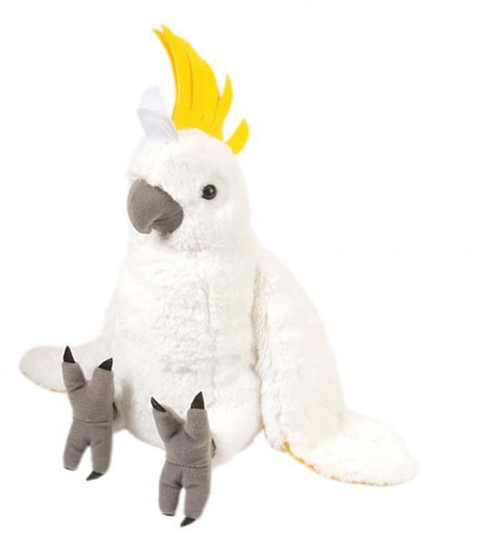 Grote foto knuffel kakatoe junior 30 cm pluche geel wit kinderen en baby knuffels en pluche