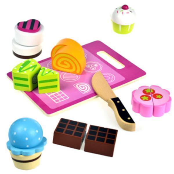 Grote foto speelgoedeten gebak junior hout 9 delig kinderen en baby overige