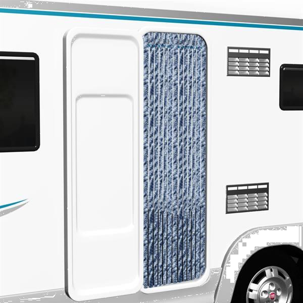 Grote foto vidaxl vliegengordijn 56x185 cm chenille blauw wit en zilve caravans en kamperen overige caravans en kamperen
