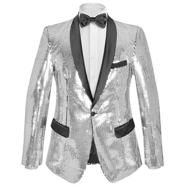 Grote foto blazer heren met pailletten zilver maat 46 kleding dames carnavalskleding en feestkleding