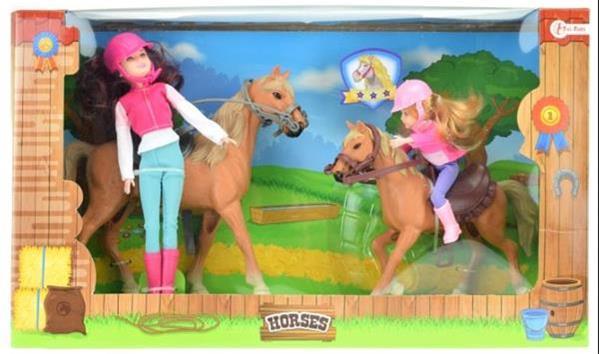 Grote foto horses paard met veulen en twee poppen kinderen en baby speelgoed voor jongens