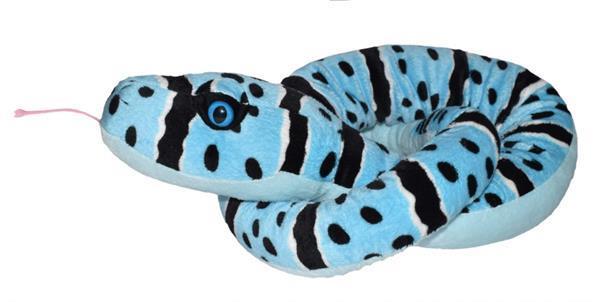 Grote foto knuffel blue rock ratelslang 137 cm pluche blauw kinderen en baby knuffels en pluche