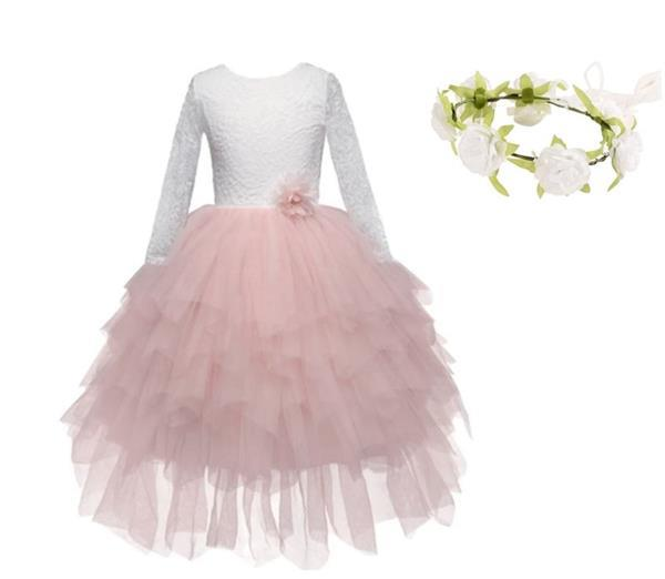 Grote foto communie bruidsmeisjes jurk roze kant laagjes bloemen kran kinderen en baby overige